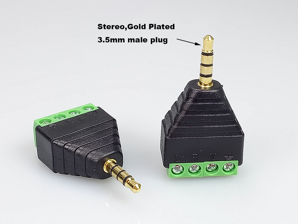 3.5 Balun CCTV Adapter 5pcs Gold Plated Stereo 4Pins 3.5 AV Balun Connector 3.5mm Male Plug to Screw Terminals 3.5mm Plug Balun