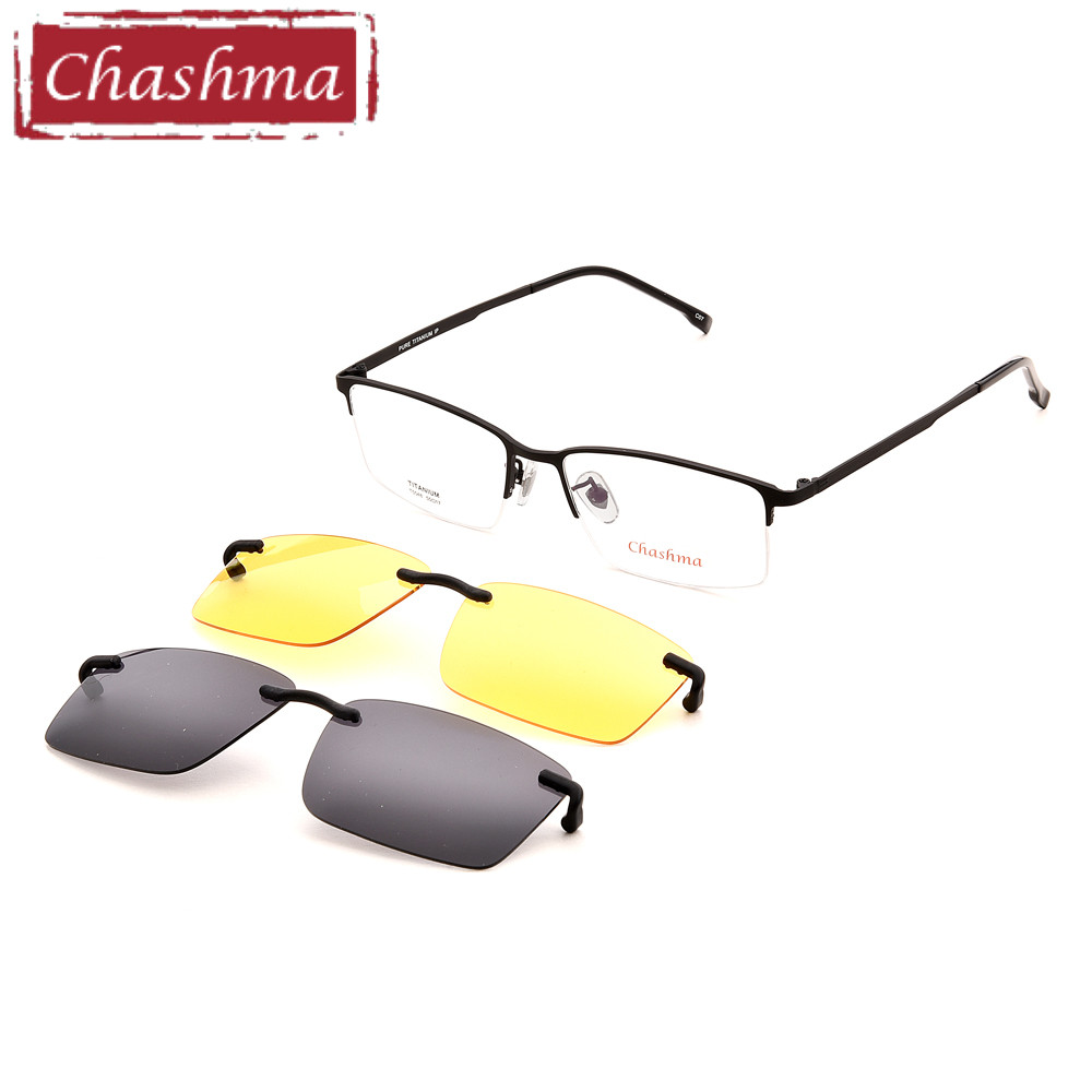 ab9231a780f Chashma Men Fishing Driving Clip Polarized Sunglasses Pure Titanium Top  Quality Optical Mopia Glasses Frame for