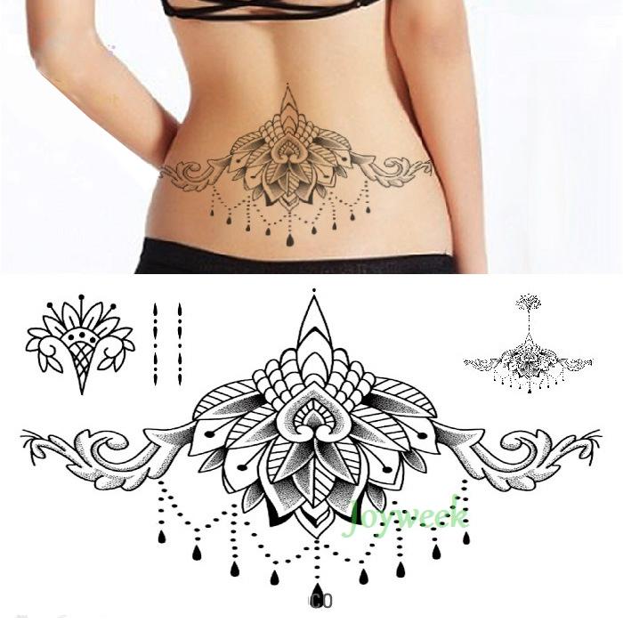 Waterproof Temporary Tattoo sticker body henna waist breast chest mandala tatto stickers flash tatoo fake tattoos for women 19 2