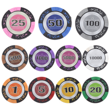 High Quality 10Pcs Clay Casino Coins Texas 20 Face Value Clay Casino Leaf Crown Design Poker Club Label Chips for Adult Fun Game