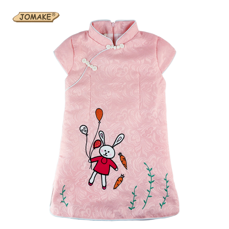 Girls Dress Chinese Cheongsam Embroidered Rabbit Kids Dresses For Girls Baby Clothes Toddler Girl Clothing Princess Dress Girl<br><br>Aliexpress
