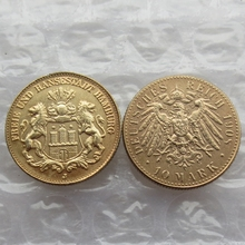 German States Hamburg 10 Mark Gold Plated 1908 Copy Coins metal craft High Quality(China)