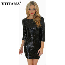 Bodycon Slim Pencil Party Dresses Women O-Neck Long Sleeve paillette Sequins Backless Sexy Club Mini Dress Sheath Solid Robe(China)