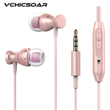 VCHICSOAR V360 Fashion Metal Magnet Earphones 3.5mm Wired Stereo Headset with Mic Universal Rose Gold Earbuds Earphone for Phone