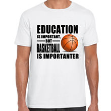 Casual Shirt Tee Summer Men O-Neck Short-Sleeve Education Is Important Basketballer Is Importanter Sporter Tee Shirt