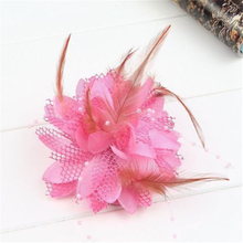 Women Small Sinamay Fascinators Feather Flowers Hair Clip Bridal Hair Accessories For Wedding 8Colors