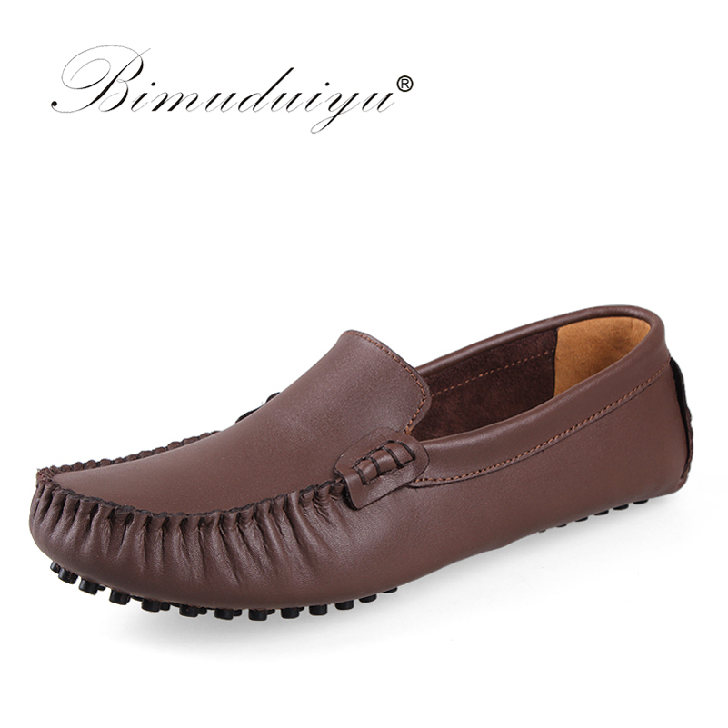 BIMUDUIYU Luxury Brand 38-47 Men Loafers Top leather Comfortable  Casual Shoes Fashion Soft Slip-on Mocassins Black Flats Shoes<br>