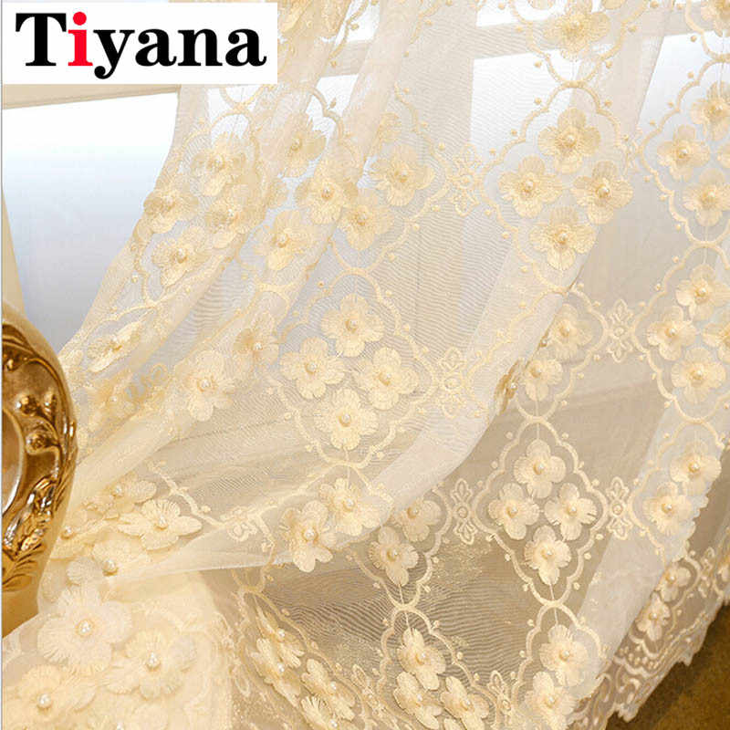 European high quality pearl embossed designer window curtains for living room bedroom pastoral sheer tulle curtain P362D2