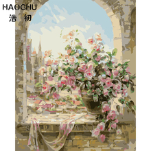 HAOCHU Vintage Pink Rose Flower Pattern Wall Picture Oil Painting DIY Drawing By Number Art Poster Home Restaurant Wedding Decor