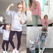 2017 New Brand Mother Daughter Hoodies Winter Family Outfit Clothes Long Sleeve Top Women Kid Girls sweater Outwear Casual(China)