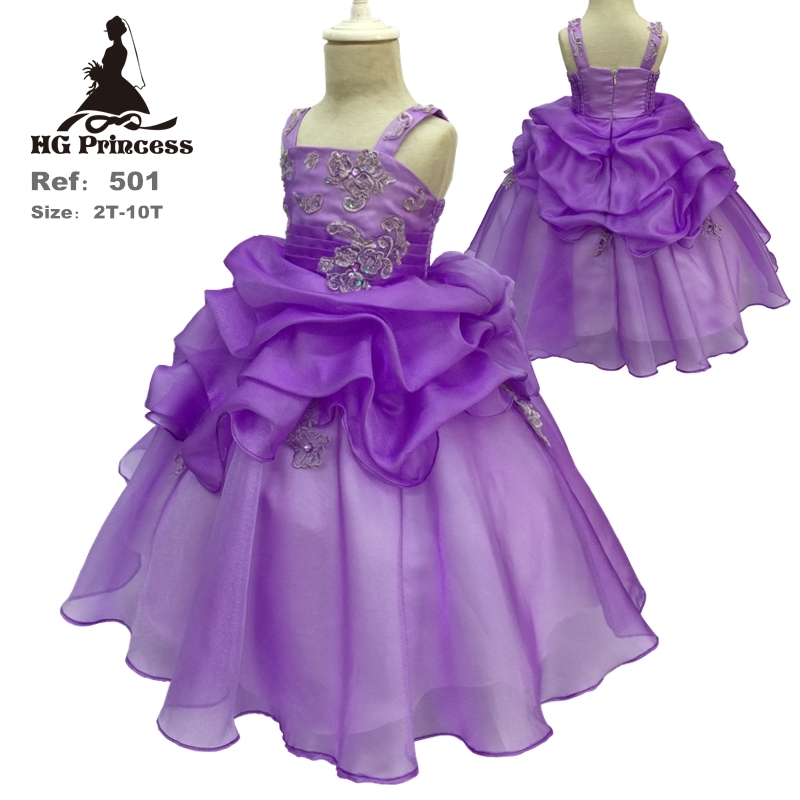 HG Princess 2T-10T Organza Ball Gown With Lace Appliques Purple Flower Girl Dresses For Weddings Pleat }Kids Evening Gowns 501<br><br>Aliexpress