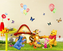Cartoon Animals Pooh Tree Vinyl Wall Stickers For Kids Rooms Boys Girls Home Decor Child Sticker Wall Art Decals 50*70cm 2346