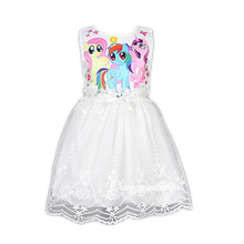 2017 Retail Baby girl dress little pony style girls cartoon dress girls Embroidery dress Kids love children's fashion dress