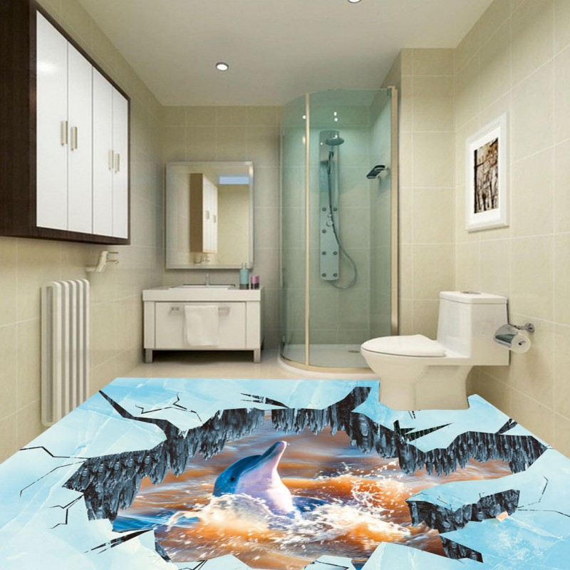 Free Shipping 3D floor paste wallpaper ice fire dolphin kitchen home lobby restaurant floor mural<br>