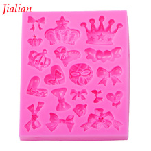 Jialian Many crown bowknot love cooking tools Christmas wedding decoration silicone mold fondant cake baking utensils FT-0226(China)