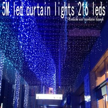 216 leds christmas Window decoration 5m Droop 0.5-0.7m curtain icicle string led lights 220V New year Garden Xmas Party Wedding