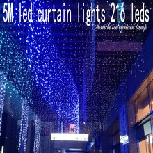 216 leds christmas Window decoration 5m Droop 0.5-0.7m curtain icicle string led lights 220V New year Garden Xmas Party Wedding(China)