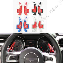 2Pcs Red/ Silver/ Blue/ Black Aluminum Steering Wheel Paddle Shifters Handle Cover Frame Sticker Trim For Ford Mustang 2015 2016(China)