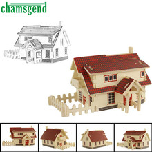 HOT European house 3d jigsaw puzzle toys wooden adult children's intelligence toys AUG 30(China)