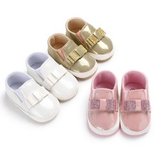 2018 New Fashion Bling Sequins Bow PU Leather Baby Shoes Leisure Baby Sneaker Soft Sole First Walkers M3(China)