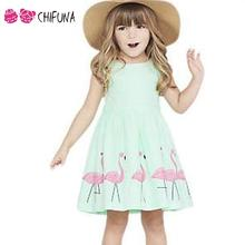 Hot New Fashion 2016 Beautiful Children Underdress Girls Dresses Crane Pattern A-Line Baby Frocks Lovely Kids Dresses