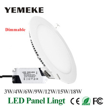 Dimmable LED Panel Light Ultra Thin Ceiling Recessed Downlight 3w 4w 5w 6w 9w 12w 15w 18w Round LED Spot Light AC85-265V(China)