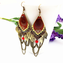Euro exaggerated geometry punk style  gold chandelier earrings indian