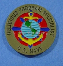 Wholesale and retail Religious Program Specialist US NAVY 25th Anniv COIN low price custom paint us military coins(China)