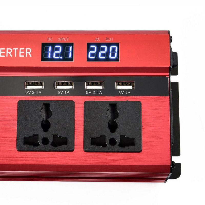 2000W Car LED Inverter 12v 220v Converter DC 12 v to 220v 4 USB Ports Charger Veicular Car Power Inverter Dual Display Inversor (8)