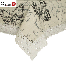 American VillageTable Cloth Butterfly Plant Linen Tablecloths Pastoral Rectangular Coffee Table Cloth Cover High Quality