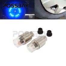 POSSBAY 2PCS Motorcycle Bicycle Bike Car Tire Tyre Wheel LED Valve Cap Stem Flash LED Lights Lamp Blue/Colorful Decoration
