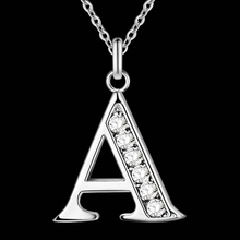 Letter A-S Free Shipping silver plated Necklace, Stamp 925 fashion silver jewelry Fashion Pendant /XYLQNNAG XYLQNNAG(China)
