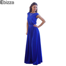 Ebizza 2017 Elegant Short Sleeve Slim Party Club Summer Women Dress Solid Sexy Round Neck Sashes Floor Length Gown Vestido Femme