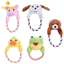 Dog Cat Toys Pets Puppy Interactive Plush Chew Squeaker Sound Toy Duck Bear Pig Designs 1pcs(China)