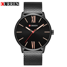 CURREN Brand 2017 tops Simple Minimalism luxury Quartz wrist Watches for men relogio masculino black / gold stainless steel 8238(China)