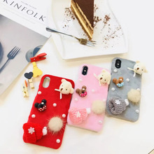 INIZEAL Phone Case 8 7 6 6s Plus Cute Christmas Pearl 3D Bears Winter Hat bulb Case for iPhone 6 6s plus 7 8 Plus X(China)