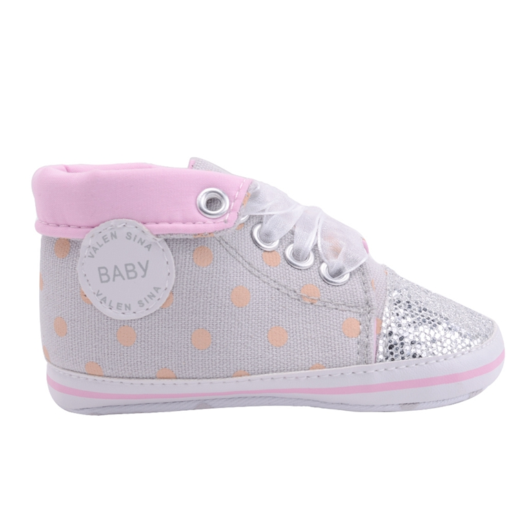 Infant Newborn Baby Girls Boy Glitter Polka Dots Autumn Lace-Up First Walkers Sneakers Shoes Adorable RibbonToddler Canvas Shoes 20
