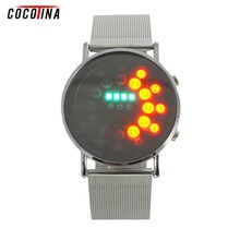 COCOTINA Best Offer Buy LED round mirror blue circles Stainless Steel Bracelet Watch WT0238(China)