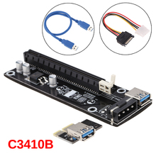 USB 3.0 For bitcoin Miner PCI-E Riser PCI E Express Extender Riser Card 1X to 16X Adapter with SATA 15 Pin-6Pin Power USB Cable