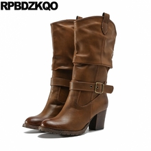 High Heel 2017 Belts Shoes Round Toe Mid Calf Slip On Vintage Chunky Western Boots Cowboy Brown Women Cowgirl Ladies New Female