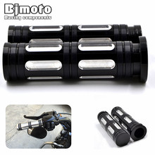 "1""25mm Black Aluminum CNC Deep Cut Handle Bar Hand Grips For Harley Sportster Touring Dyna Softail Custom(China)"