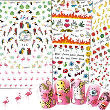 1 pcs Nail Art Autocollant Bande Dessinée Flamintgo/Fleur/Licorne/Fruits Nail Conseils DIY 3D Décoration Belle Emoji stickers CHF241-250