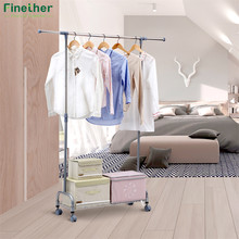 Finether Adjustable Rolling Garment Rack Clothes Storage Organization Drying Hanging Portable Wardrobe Bottom Storage Organizer(China)