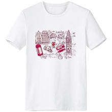 Big Ben Bus UK England Landmark Flag Sketch Illustration Crew-Neck White T-shirt Spring and Summer Tagless Comfort Cotton Tshirt