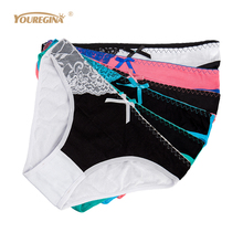 Buy YOUREGINA Women Underwear Cotton Sexy Panties Briefs Solid Cute Lace Low Rise Girls Ladies Knickers Intimates Lingerie 6 pcs/lot