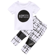 2PCS Toddler Kids Boys Clothes 2017 Summer Stylish T-shirt Tops + Geometric Pant Legging Outfit Children Clothing Set 1-6Y