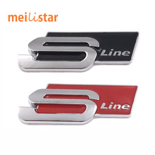 1 Pcs RED/BLACK METAL Sline S LINE SIDE FENDER REAR TRUNK Badge Emblem Sticker for Audi S3 S4 S5 S6 S8 A1 A3 A4 A5 A6 A7 TT RS4