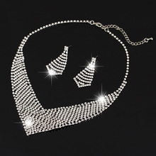 Hollow Crystal Necklace Pendant Austrian Crystal Silver Plated Wedding Jewelry Sets For Women Wholesale price N176(China)
