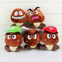 "High Quality 5.1"" 13cm 5 Styles Super Mario Bros Plush Toy Soft Doll Goomba With Mario & Luigi Hat Doll Free Shipping(China)"