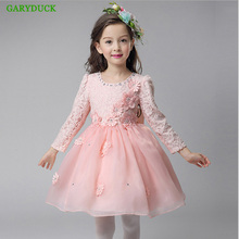 2017 Autumn/winter Long-sleeved Children's Wedding Dress Princess Dress Baby Girl Birthday Party Performance Dress Kids Clothes
